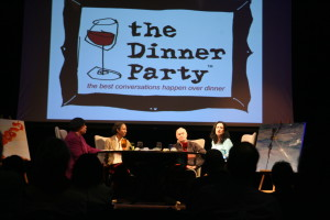 The 3rd Fear No Art Dinner Party included host Elysabeth Alfano with Marc Smith, Poetry Slam originator, bluesman Billy Branch, and MCA  curator Naomi Beckwith and chef Matt Troost of Three Aces. Also Stacy Bowie paints a picture while Edith Yokely plays violin.
