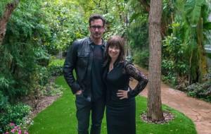 LZ & me in lush garden